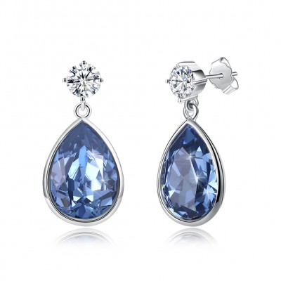Tinnivi Teardrop Blue Austrian Crystal Sterling Silver Dangle Earrings