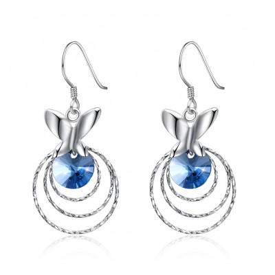 Tinnivi Circle Butterfly Blue Austrian Crystal Sterling Silver Dangle Earrings