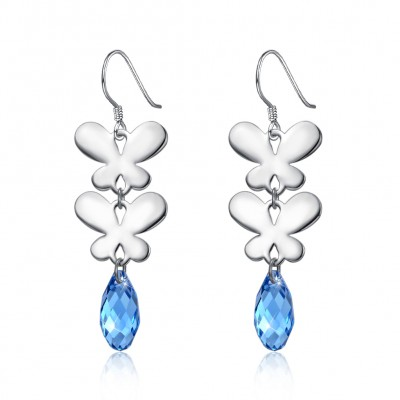 Tinnivi Double Butterfly Blue Austrian Crystal Sterling Silver Drop Earrings