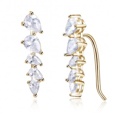 Tinnivi Gold Pear Cut Created White Sapphire Sterling Silver Stud Earrings