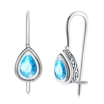 Tinnivi Pear Cut Created Aquamarine Sterling Silver Drop Earrings