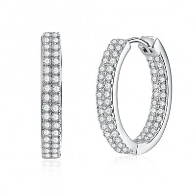 Tinnivi Fashion Created White Sapphire Sterling Silver Hoop Earrings