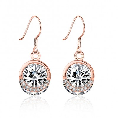 Tinnivi Rose Gold Plated Created White Sapphire Sterling Silver Drop Earrings
