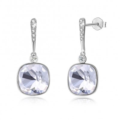 Tinnivi Cushion Cut White Austrian Crystal Sterling Silver Dangle Earrings