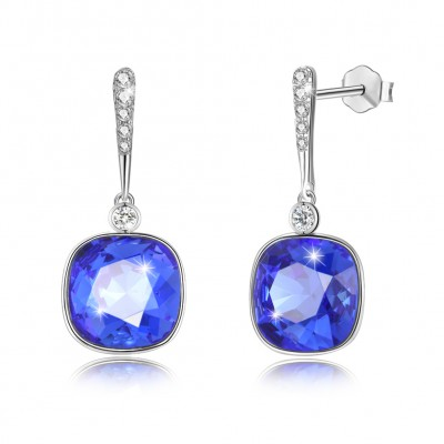 Tinnivi Cushion Cut Royal Blue Austrian Crystal Sterling Silver Dangle Earrings