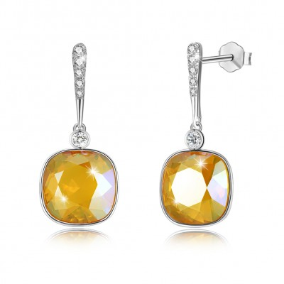 Tinnivi Cushion Cut Yellow Austrian Crystal Sterling Silver Dangle Earrings