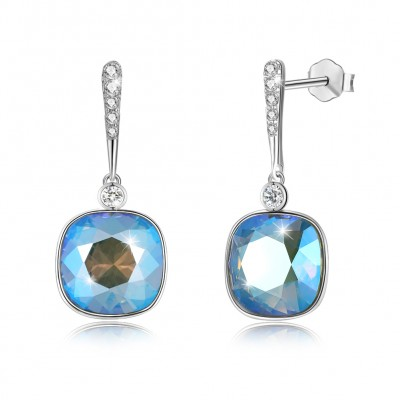 Tinnivi Cushion Cut Lake Blue Austrian Crystal Sterling Silver Dangle Earrings
