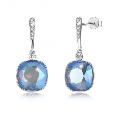 Tinnivi Cushion Cut Rainbow Crystal Sterling Silver Dangle Earrings