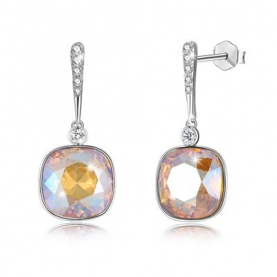 Tinnivi Cushion Cut Gold Color Austrian Crystal Sterling Silver Dangle Earrings