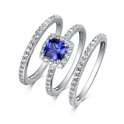 Tinnivi Sterling Silver Round Cut Created Sapphire Halo Three Piece Wedding Ring Set