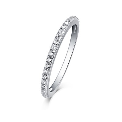 Tinnivi Sterling Silver Pave Created White Sapphire Stackable Wedding Band
