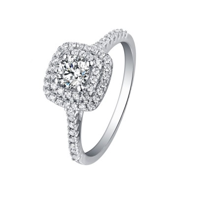 Tinnivi Sterling Silver Brilliant Round Cut Created White Sapphire Double Halo Engagement Ring
