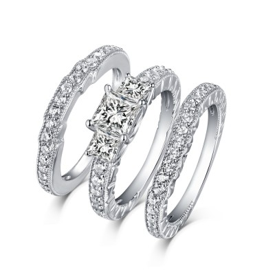 Tinnivi Sterling Silver Princess Cut Created White Sapphire 3 Stone 3PC Women's Wedding Ring Set