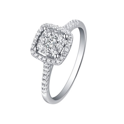 Tinnivi Sterling Silver Cushion Shape Round Cut Created White Sapphire Brilliant Halo Engagement Ring