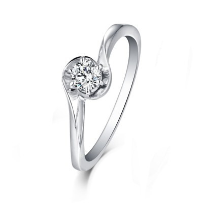 Tinnivi Sterling Silver Unique Round Cut Created White Sapphire Engagement Ring