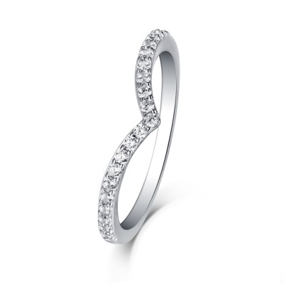 Tinnivi Sterling Silver Accent Curved Wedding Band Ring