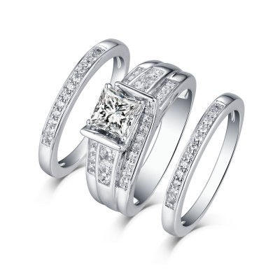 Tinnivi Sterling Silver Princess Cut Created White Sapphire Vintage 3PC Women's Wedding Ring Set