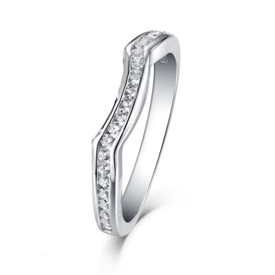 Tinnivi Sterling Silver Pave Created White Sapphire Curved Wedding Band
