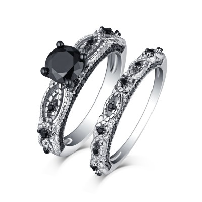 Tinnivi Sterling Silver Black Diamond Infinity Bridal Ring Set