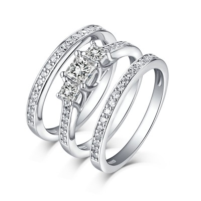 Tinnivi Sterling Silver Princess Cut Created White Sapphire Three Stone 3 Piece Wedding Set