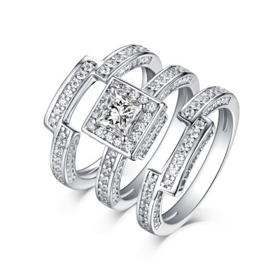 Tinnivi 3PC Sterling Silver Round Cut Created White Sapphire Halo Wedding Ring Set