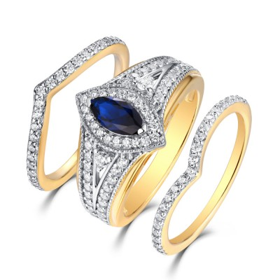 Tinnivi Sterling Silver Marquise Cut Created Sapphire Halo Vintage 3PC Wedding Ring Set