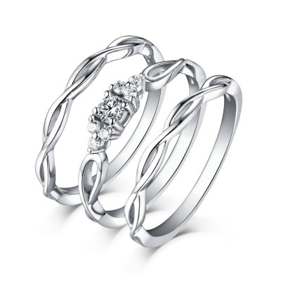Tinnivi Sterling Silver Shining Princess Cut Created White Sapphire 3PC Wedding Ring Set