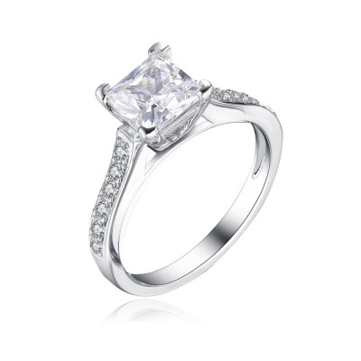 Tinnivi Classic Princess Cut Created White Sapphire Sidestone Sterling Silver Engagement Ring