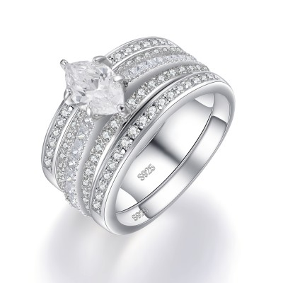 Marquise Cut White Sapphire Sterling Silver Women's Bridal Set Ring