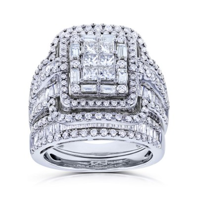 Princess Cut White Sapphire 925 Sterling Silver Halo Bridal Set