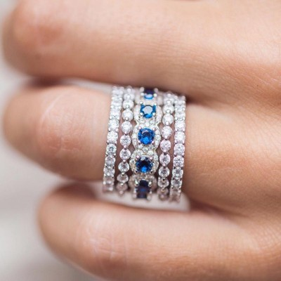 Stunning Round Cut Blue Sapphire 925 Sterling Silver Bridal Sets