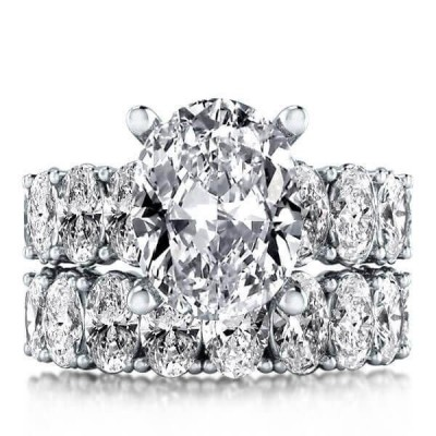 Sparkling Oval Cut White Sapphire 925 Sterling Silver Bridal Sets