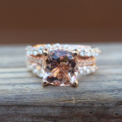 Cushion Cut White Sapphire 925 Sterling Silver Halo Bridal Sets with Rose Gold