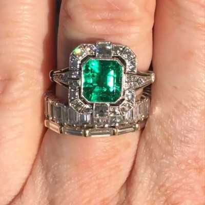 Emerald Cut Emerald 925 Sterling Silver Halo Bridal Sets