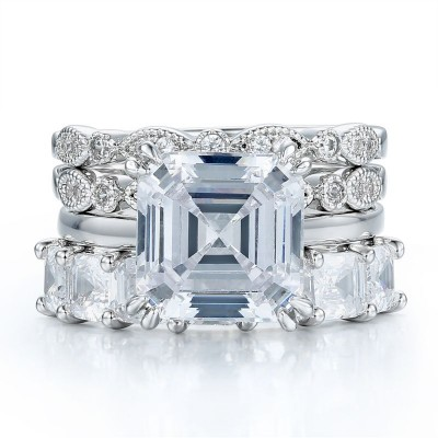 Tinnivi Asscher Cut White Sapphire 925 Sterling Silver Bridal Sets with Asscher Band