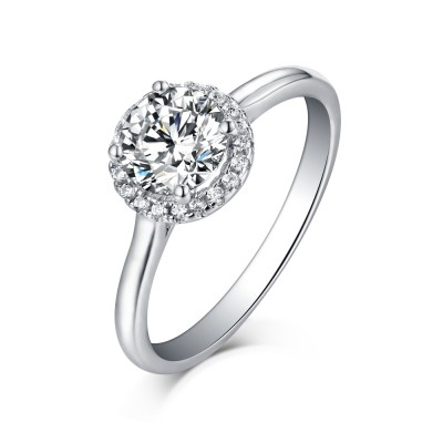 Tinnivi Sterling Silver Classic Halo Round Cut Created White Sapphire Engagement Ring