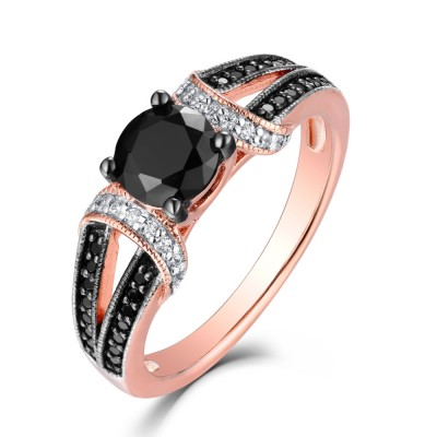 Tinnivi Sterling Silver Rose Gold Created Black and White Diamond Split Shank Engagement Ring