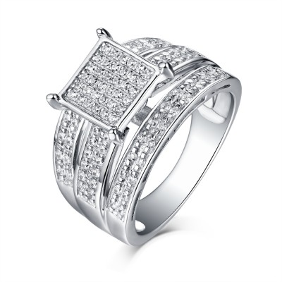 Tinnivi Sterling Silver Square-set Paved Created White Sapphire Engagement Ring