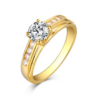 Tinnivi Sterling Silver Round Cut Created White Sapphire Yellow Solitaire Engagement Ring