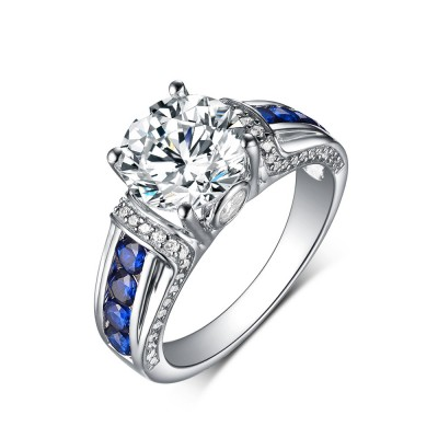 Tinnivi Sterling Silver Round Cut Sapphire and Lab-Created Diamond Engagement Ring
