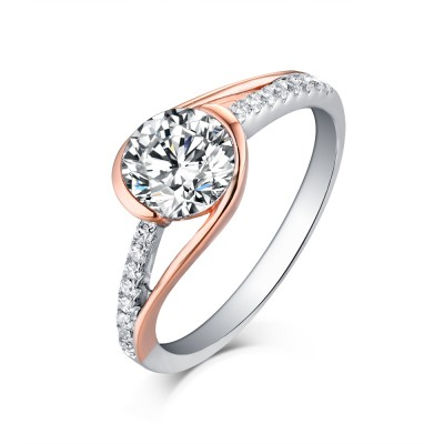 Tinnivi Two Tone Rose Sterling Silver Round Cut Created White Sapphire Engagement Ring
