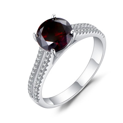 Round Cut Sterling Silver Created Garnet Engagement Ring