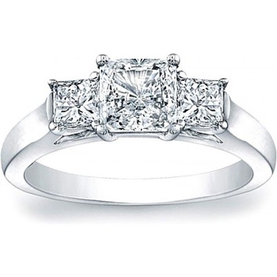 Princess Cut White Sapphire 925 Sterling Silver Three Stone Engagement Ring