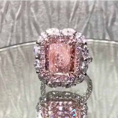 Radiant Cut Pink Sapphire 925 Sterling Silver Halo Engagement Ring
