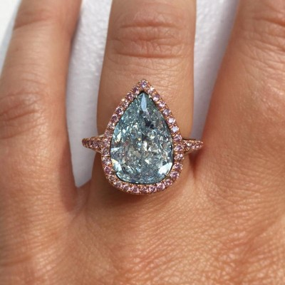Pear Cut Aquamarine 925 Sterling Silver Engagement Ring