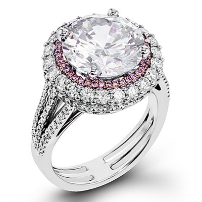 Tinnivi Round Cut 925 Sterling Silver White Sapphire Engagement Ring