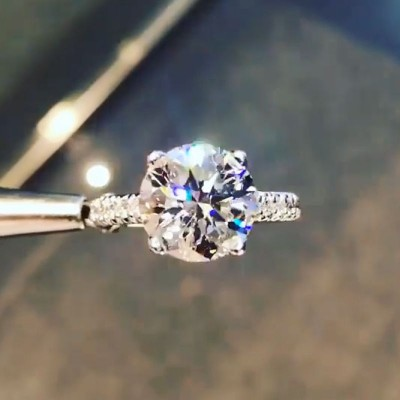 Brilliant Round Cut White Sapphire 925 Sterling Silver Engagement Ring