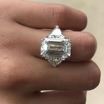 Emerald Cut White Sapphire 925 Sterling Three Stone Silver Engagement Ring
