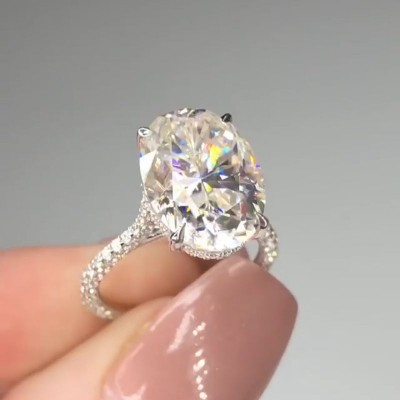 Tinnivi Oval Cut White Sapphire 925 Sterling Silver Engagement Ring