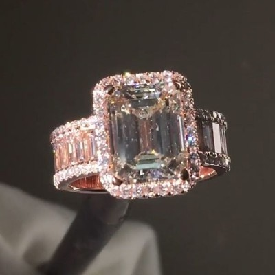 Emerald Cut White Sapphire 925 Sterling Silver Halo Engagement Ring with Rose